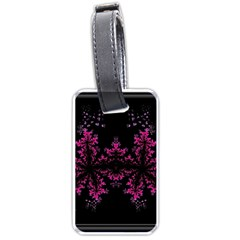 Violet Fractal On Black Background In 3d Glass Frame Luggage Tags (two Sides)