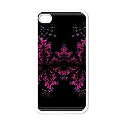 Violet Fractal On Black Background In 3d Glass Frame Apple Iphone 4 Case (white)