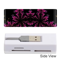 Violet Fractal On Black Background In 3d Glass Frame Memory Card Reader (stick)