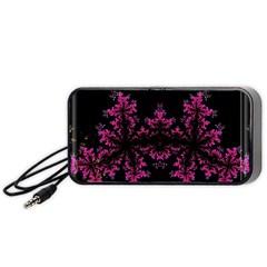 Violet Fractal On Black Background In 3d Glass Frame Portable Speaker (Black)