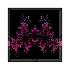 Violet Fractal On Black Background In 3d Glass Frame Acrylic Tangram Puzzle (6  x 6 )