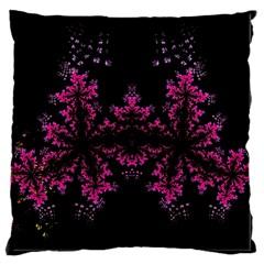 Violet Fractal On Black Background In 3d Glass Frame Large Cushion Case (One Side)