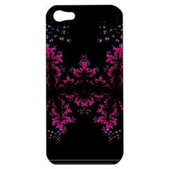 Violet Fractal On Black Background In 3d Glass Frame Apple iPhone 5 Hardshell Case