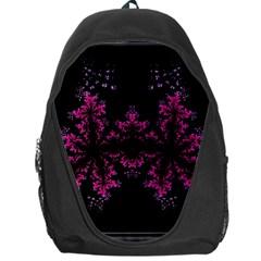 Violet Fractal On Black Background In 3d Glass Frame Backpack Bag