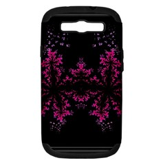 Violet Fractal On Black Background In 3d Glass Frame Samsung Galaxy S III Hardshell Case (PC+Silicone)