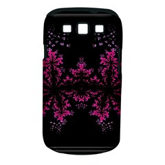 Violet Fractal On Black Background In 3d Glass Frame Samsung Galaxy S III Classic Hardshell Case (PC+Silicone)