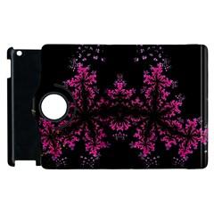 Violet Fractal On Black Background In 3d Glass Frame Apple iPad 3/4 Flip 360 Case