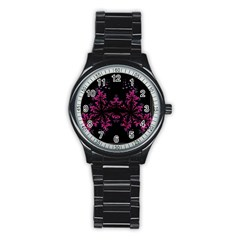 Violet Fractal On Black Background In 3d Glass Frame Stainless Steel Round Watch