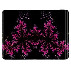 Violet Fractal On Black Background In 3d Glass Frame Samsung Galaxy Tab 7  P1000 Flip Case
