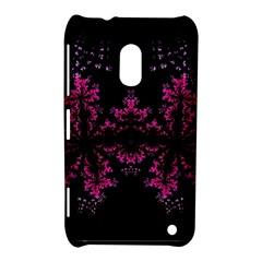 Violet Fractal On Black Background In 3d Glass Frame Nokia Lumia 620