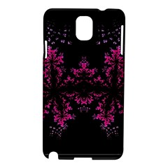 Violet Fractal On Black Background In 3d Glass Frame Samsung Galaxy Note 3 N9005 Hardshell Case