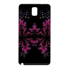 Violet Fractal On Black Background In 3d Glass Frame Samsung Galaxy Note 3 N9005 Hardshell Back Case