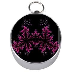 Violet Fractal On Black Background In 3d Glass Frame Silver Compasses