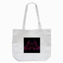 Violet Fractal On Black Background In 3d Glass Frame Tote Bag (White)