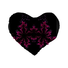 Violet Fractal On Black Background In 3d Glass Frame Standard 16  Premium Flano Heart Shape Cushions