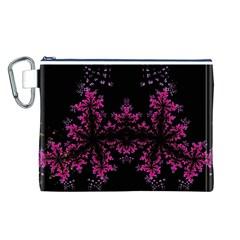 Violet Fractal On Black Background In 3d Glass Frame Canvas Cosmetic Bag (l)
