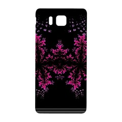 Violet Fractal On Black Background In 3d Glass Frame Samsung Galaxy Alpha Hardshell Back Case