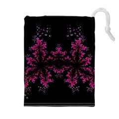 Violet Fractal On Black Background In 3d Glass Frame Drawstring Pouches (Extra Large)