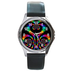 Fractal Drawing Of Phoenix Spirals Round Metal Watch