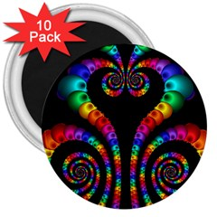 Fractal Drawing Of Phoenix Spirals 3  Magnets (10 Pack)