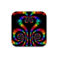 Fractal Drawing Of Phoenix Spirals Rubber Square Coaster (4 Pack)