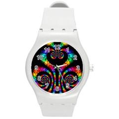 Fractal Drawing Of Phoenix Spirals Round Plastic Sport Watch (M)