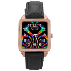 Fractal Drawing Of Phoenix Spirals Rose Gold Leather Watch