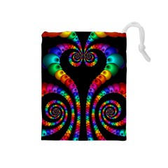 Fractal Drawing Of Phoenix Spirals Drawstring Pouches (Medium)