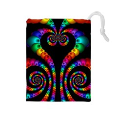 Fractal Drawing Of Phoenix Spirals Drawstring Pouches (Large)