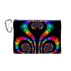 Fractal Drawing Of Phoenix Spirals Canvas Cosmetic Bag (M)