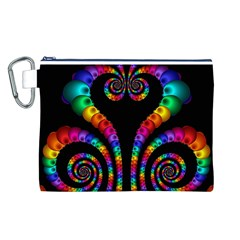 Fractal Drawing Of Phoenix Spirals Canvas Cosmetic Bag (l)