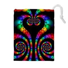 Fractal Drawing Of Phoenix Spirals Drawstring Pouches (extra Large)
