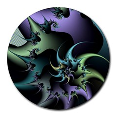 Fractal Image With Sharp Wheels Round Mousepads