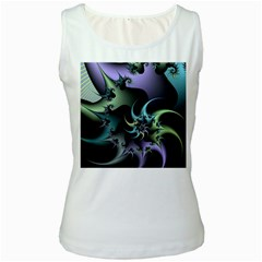 Fractal Image With Sharp Wheels Women s White Tank Top