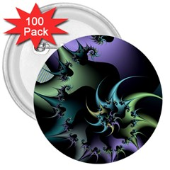 Fractal Image With Sharp Wheels 3  Buttons (100 Pack)