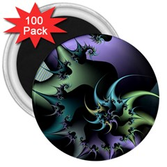 Fractal Image With Sharp Wheels 3  Magnets (100 Pack)