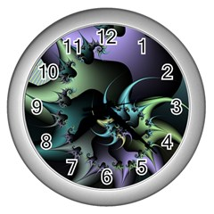 Fractal Image With Sharp Wheels Wall Clocks (silver)