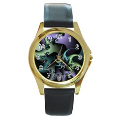 Fractal Image With Sharp Wheels Round Gold Metal Watch