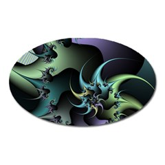 Fractal Image With Sharp Wheels Oval Magnet