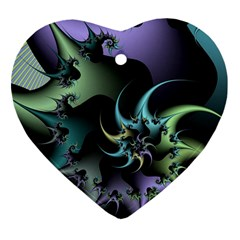 Fractal Image With Sharp Wheels Heart Ornament (two Sides)