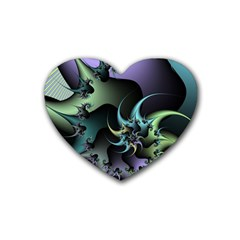 Fractal Image With Sharp Wheels Rubber Coaster (heart)