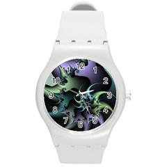 Fractal Image With Sharp Wheels Round Plastic Sport Watch (M)