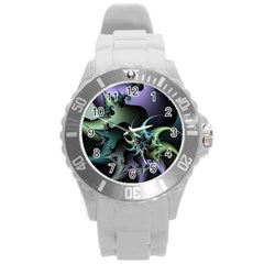 Fractal Image With Sharp Wheels Round Plastic Sport Watch (L)