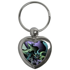 Fractal Image With Sharp Wheels Key Chains (Heart)