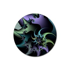 Fractal Image With Sharp Wheels Rubber Coaster (Round)