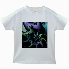 Fractal Image With Sharp Wheels Kids White T Shirts