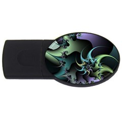 Fractal Image With Sharp Wheels USB Flash Drive Oval (1 GB)