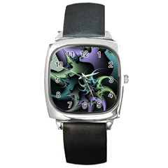 Fractal Image With Sharp Wheels Square Metal Watch