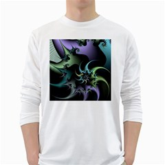 Fractal Image With Sharp Wheels White Long Sleeve T-Shirts