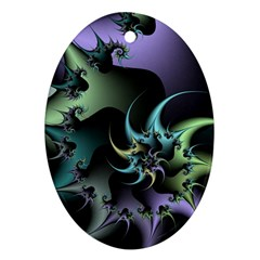 Fractal Image With Sharp Wheels Oval Ornament (Two Sides)